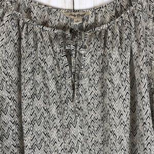 Lucky Brand Silk Print Peasant Boho Blouse